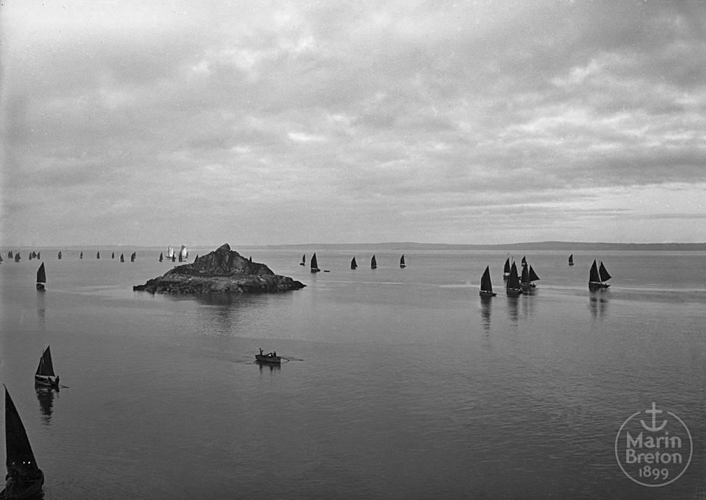La flottille sardinière douarneniste en route vers ses lieux de pêche (1920)